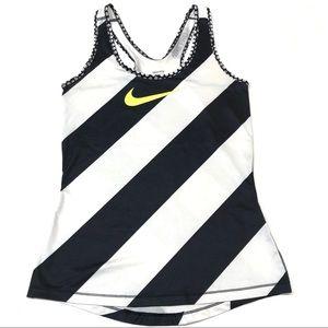 Nike black and white dri-fit racer back ta…